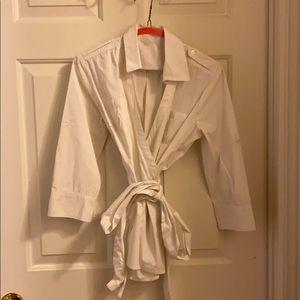 Banana Republic white wrap around shirt